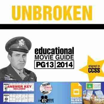 Unbroken Movie Guide   Questions   Worksheet   Google Slides (PG13 - 2014) Cover
