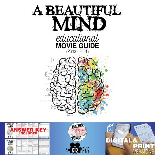 A Beautiful Mind Movie Guide | Questions | Worksheet (PG13 - 2001) Cover