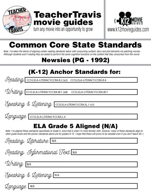 Newsies Movie Guide | Questions | Worksheet | Google Form (PG - 1992) CCSS Alignment
