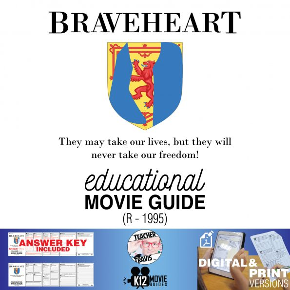 Braveheart Movie Guide | Questions | Worksheet (R - 1995) Cover