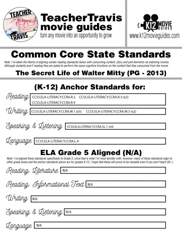 The Secret Life of Walter Mitty Movie Guide | Questions | Worksheet (PG - 2013) CCSS Alignment