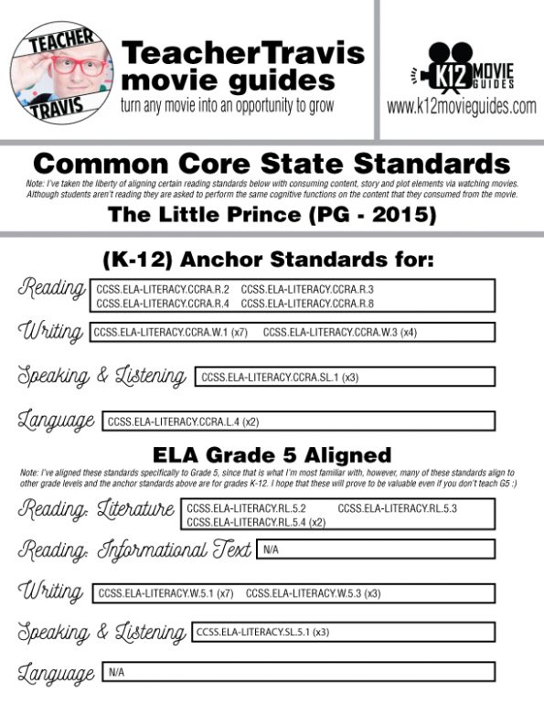 The Little Prince Movie Guide   Questions   Worksheet   Google Form (PG - 2015) CCSS Alignment