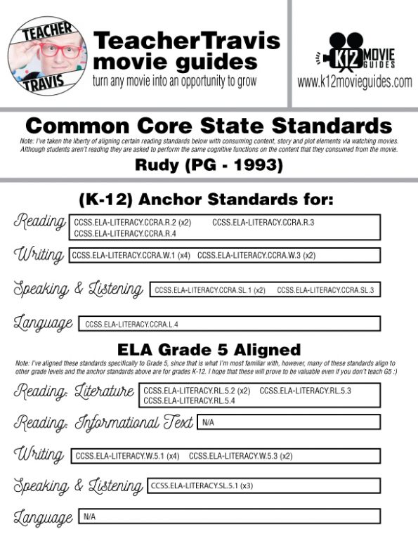 Rudy Movie Guide | Questions | Worksheet | Google Form (PG - 1993) CCSS Alignment