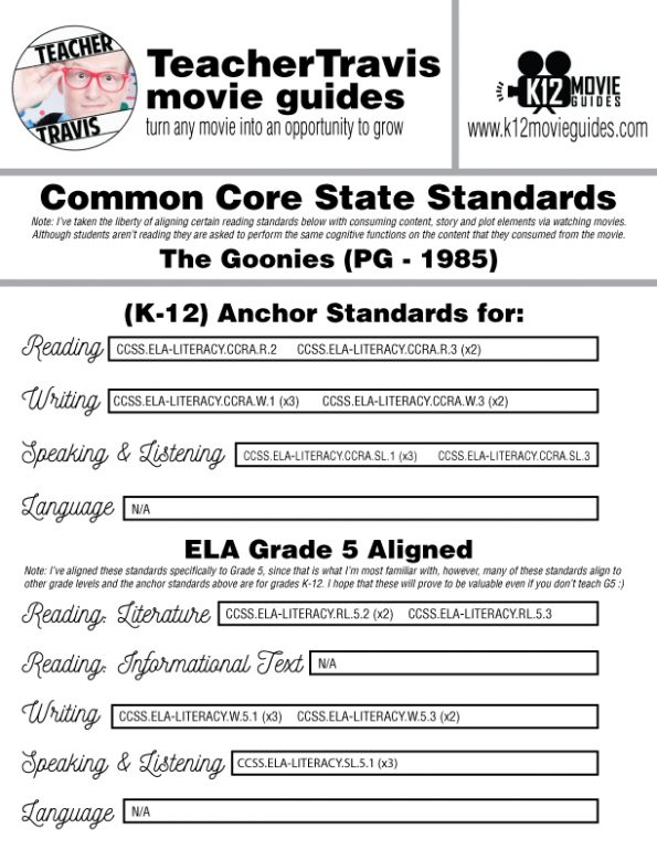 The Goonies Movie Guide | Questions | Worksheet (PG - 1985) CCSS