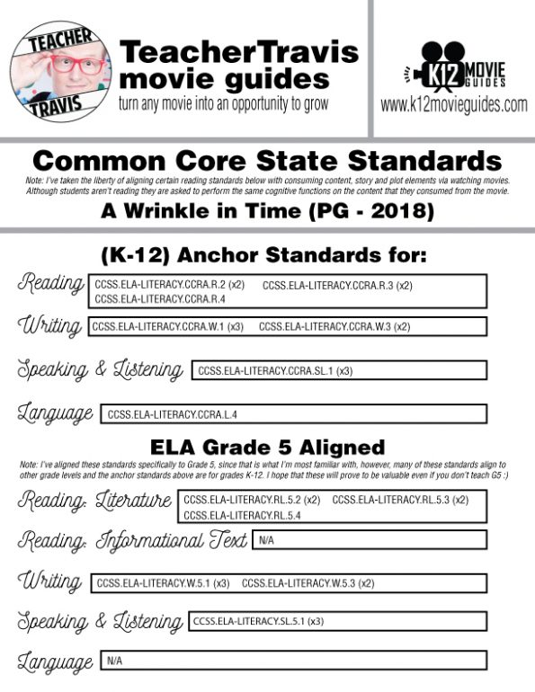 A Wrinkle in Time Movie Guide | Questions | Worksheet | Google Form (PG - 2018) CCSS Alignment