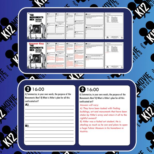 The Monuments Men Movie Guide | Questions | Worksheet (PG13 - 2014) Sample