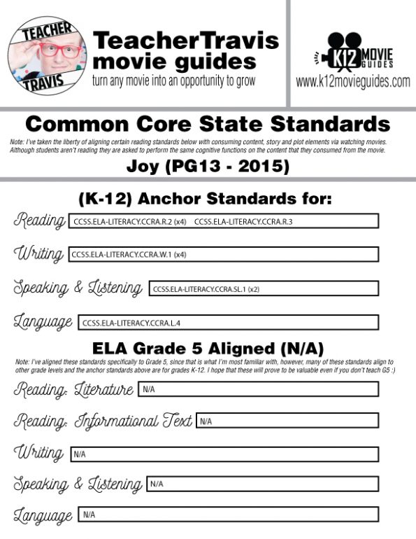 Joy Movie Guide | Questions | Worksheet | Google Form (PG13 - 2015) CCSS