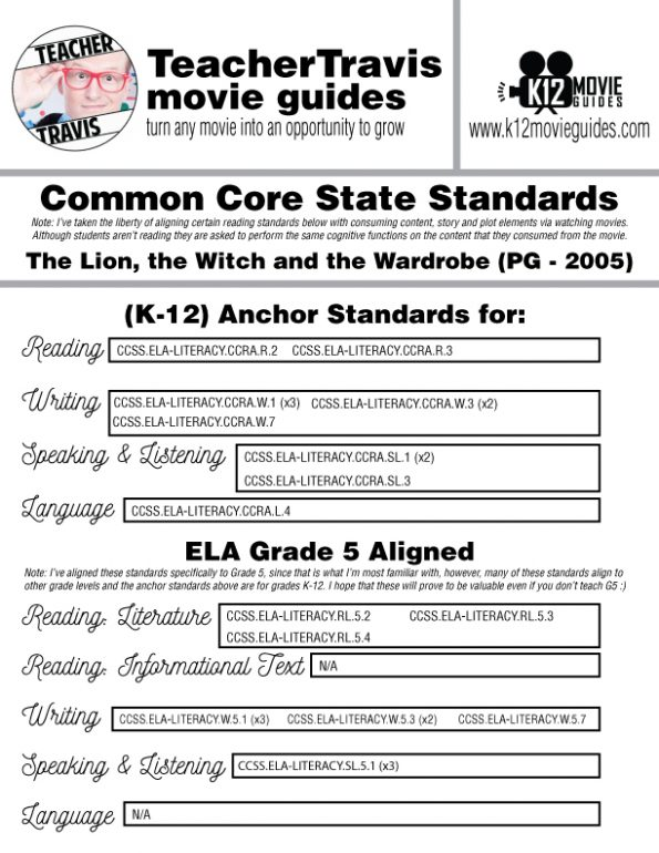 Chronicles of Narnia: The Lion, the Witch and the Wardrobe Movie Guide (PG-2005) CCSS Alignment