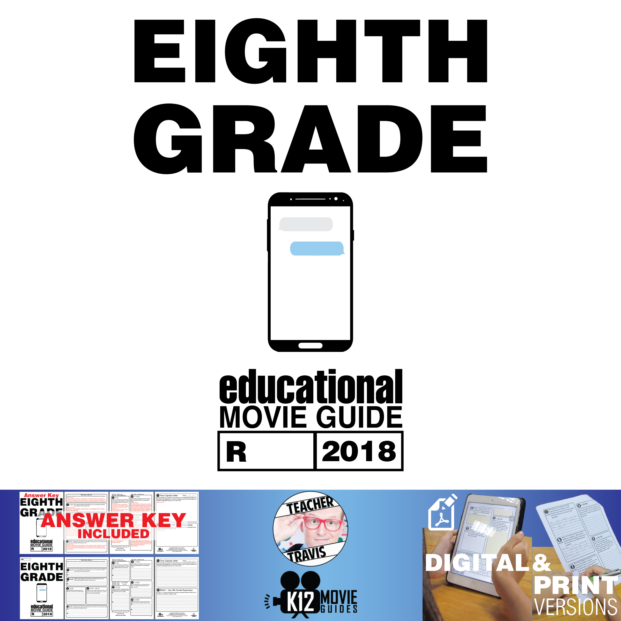 Eighth Grade Movie Guide | Questions | Worksheet (R - 2018) Cover