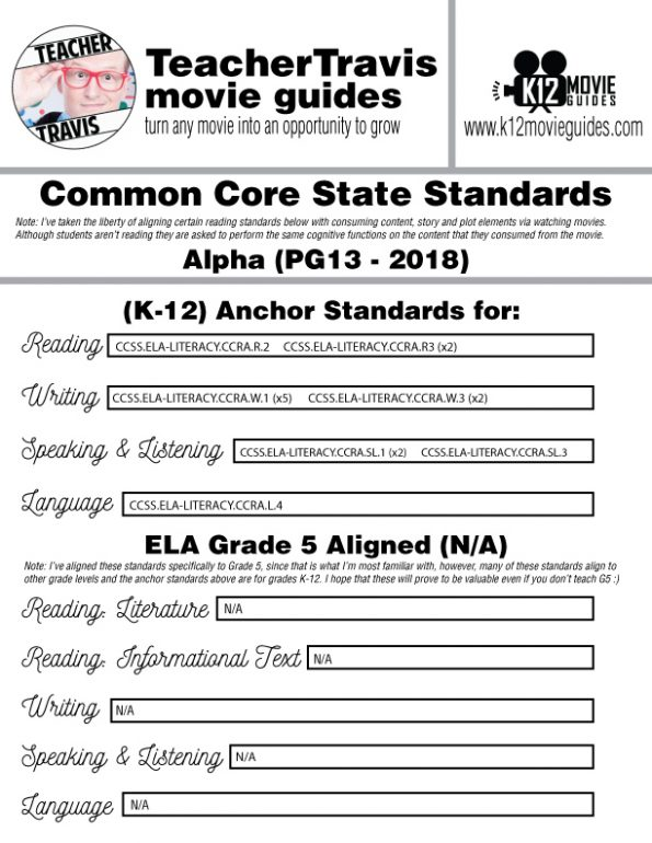 Alpha Movie Guide | Questions | Worksheet (PG13 - 2018) CCSS Alignment