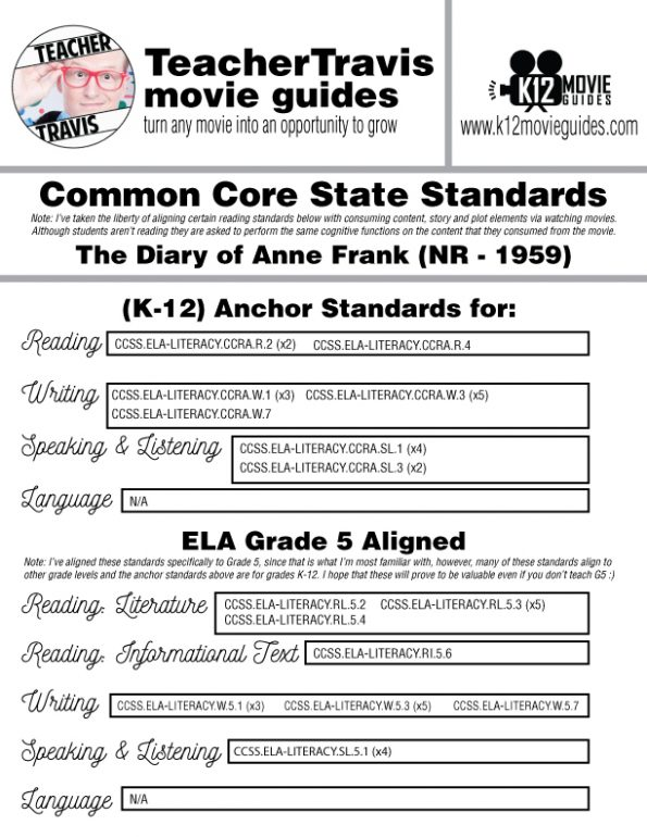 The Diary of Anne Frank Movie Guide | Questions | Worksheet (NR - 1959) CCSS Alignment