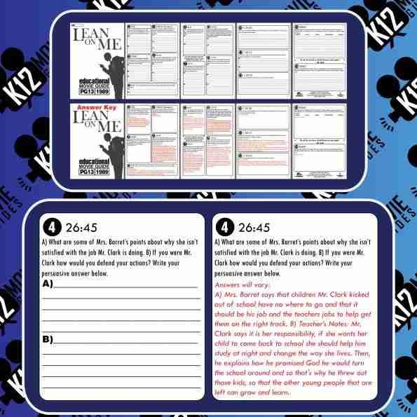 Lean On Me Movie Guide | Questions | Worksheet (PG13 - 1989) Sample