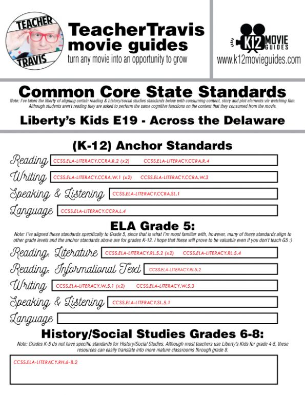 Liberty's Kids   Across the Delaware Episode 19 (E19) - Movie Guide   Worksheet CCSS