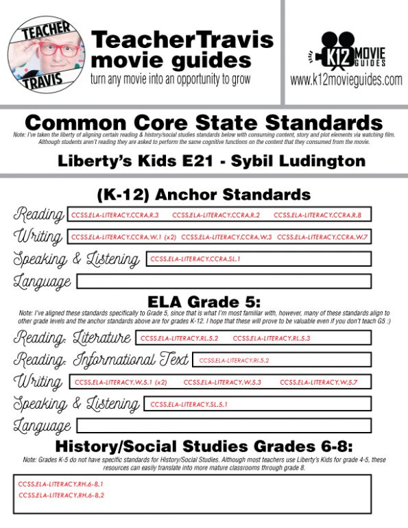 Liberty's Kids | Sybil Ludington Episode 21 (E21) - Movie Guide | Worksheet CCSS