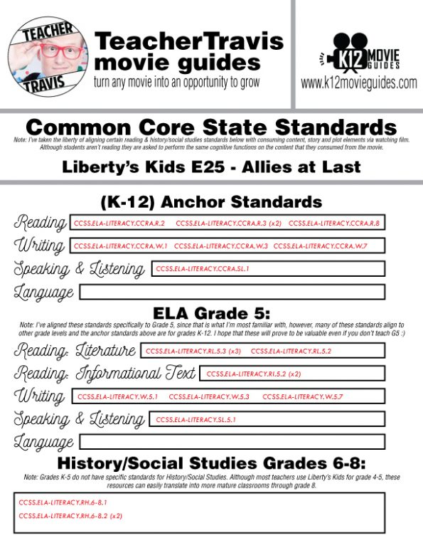 Liberty's Kids | Allies at Last Episode 25 (E25) - Movie Guide | Worksheet CCSS