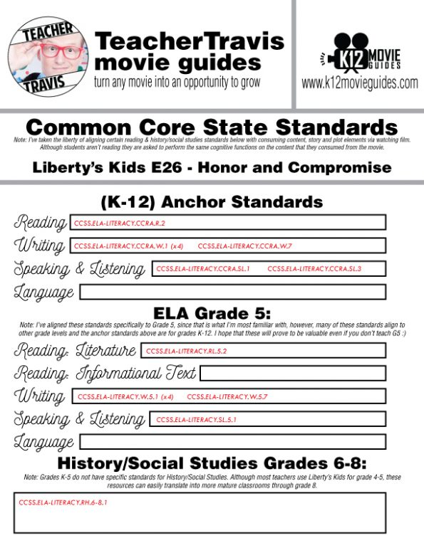 Liberty's Kids | Honor and Compromise Episode 26 (E26) - Movie Guide | Worksheet CCSS