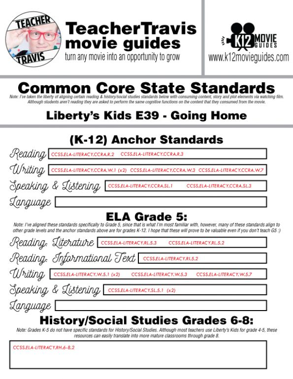 Liberty's Kids | Going Home Episode 39 (E39) - Movie Guide | Worksheet CCSS