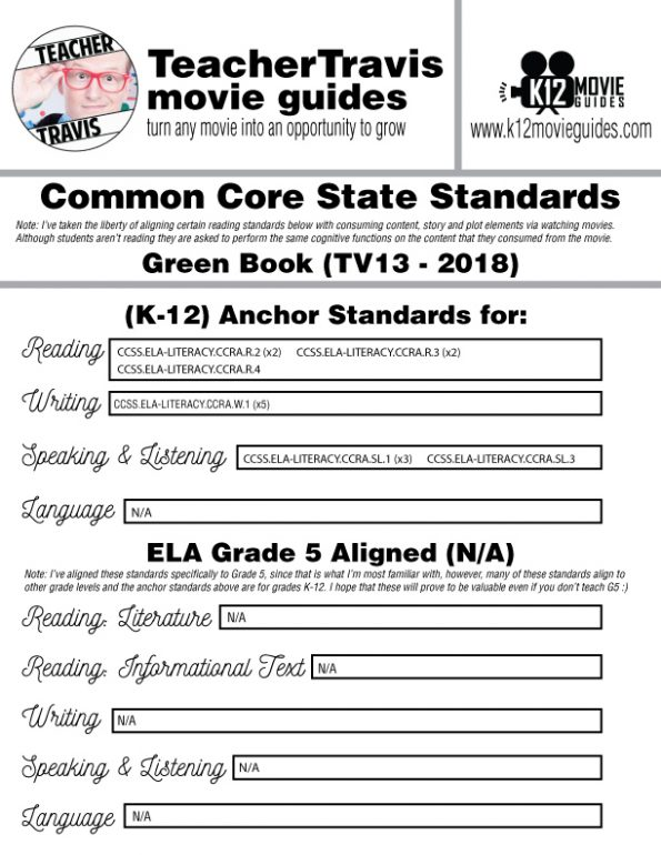 Green Book Movie Guide | Questions | Worksheet (PG13 - 2018) CCSS Alignment