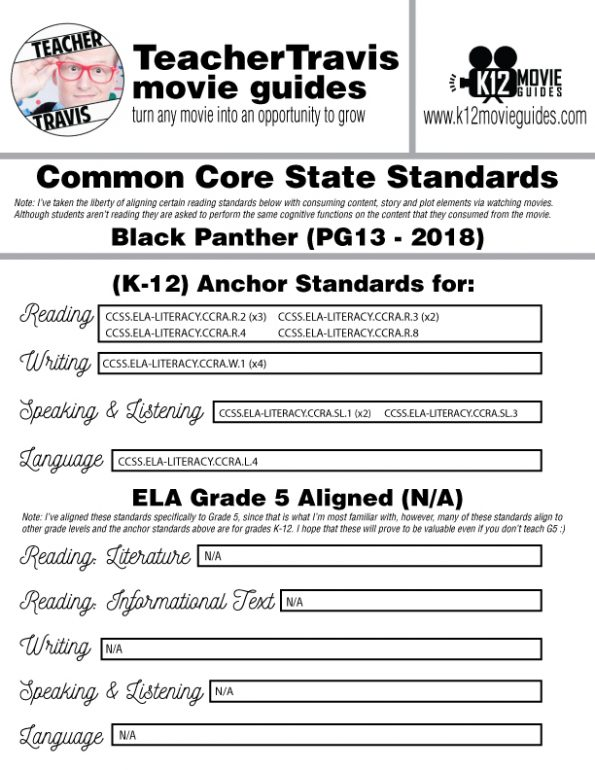 Black Panther Movie Guide | Questions | Worksheet | Google Form (PG13 - 2018) CCSS Alignment