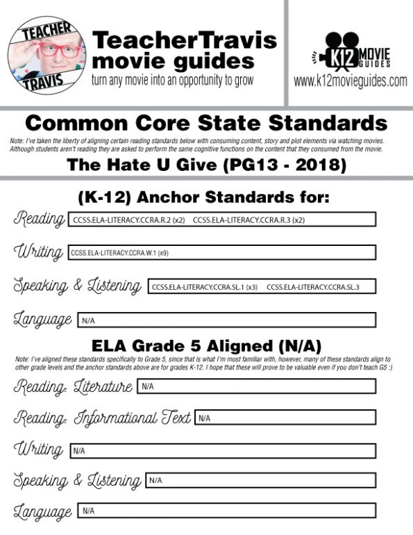 The Hate U Give Movie Guide | Worksheet (PG13 - 2018) CCSS Alignment