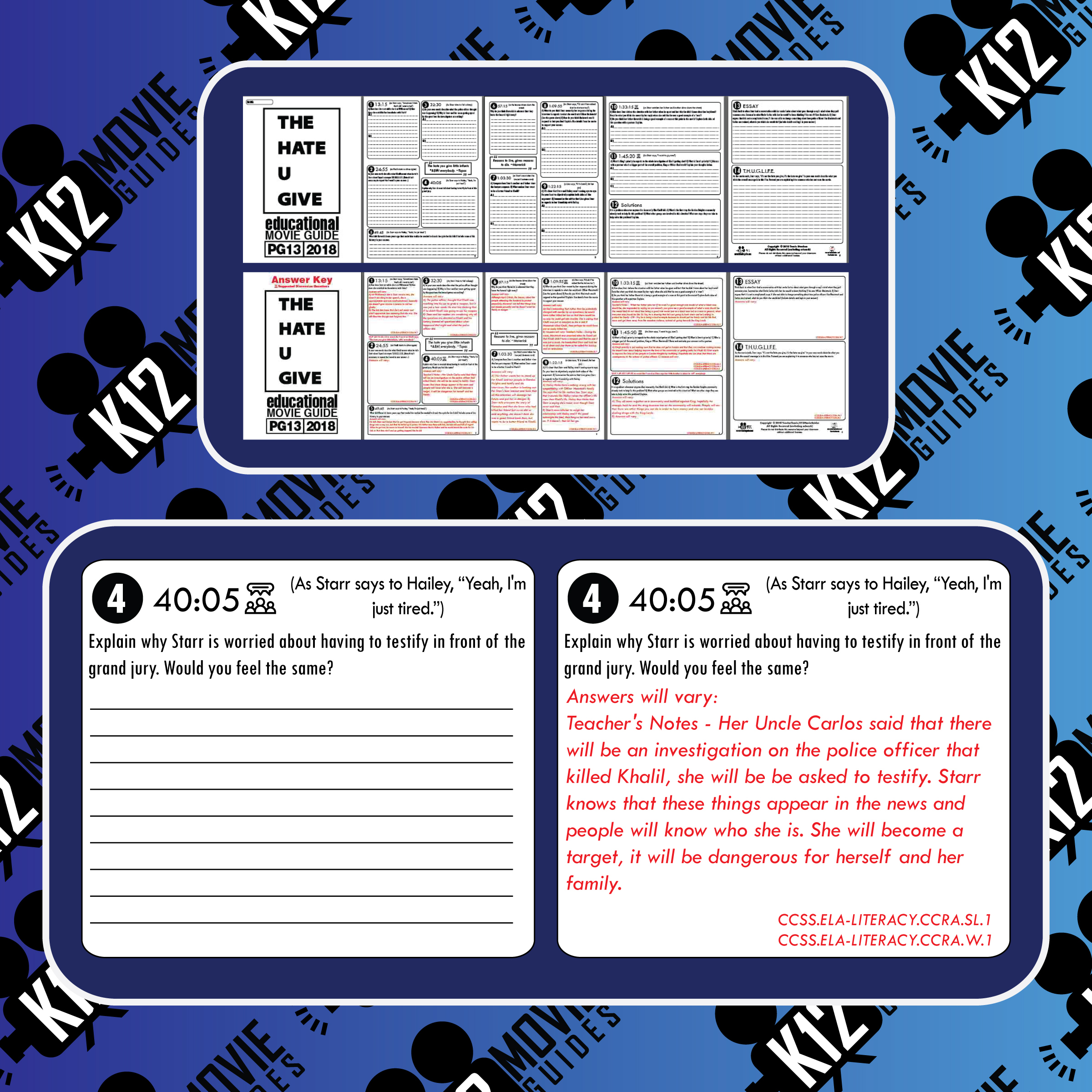 The Hate U Give Movie Guide   Worksheet (PG13 - 2018) Free Questions