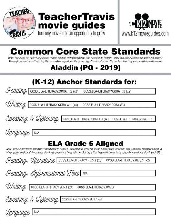 Aladdin Movie Guide | Questions | Worksheet | Google Form (PG - 2019) CCSS