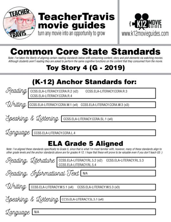 Toy Story 4 Movie Guide | Questions | Worksheet | Google Classroom (G - 2019) CCSS