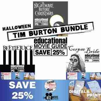 Halloween - Tim Burton - Movie Guide | Worksheet Bundle - SAVE OVER 25% Cover