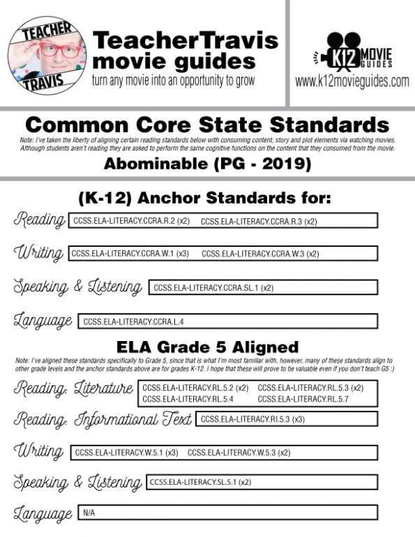 Abominable Movie Guide | Questions | Worksheet (PG - 2019) CCSS Alignment