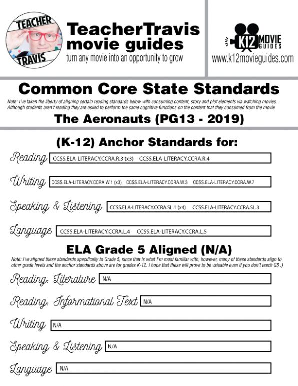 The Aeronauts Movie Guide | Questions | Worksheet (PG13 - 2019) CCSS Alignment