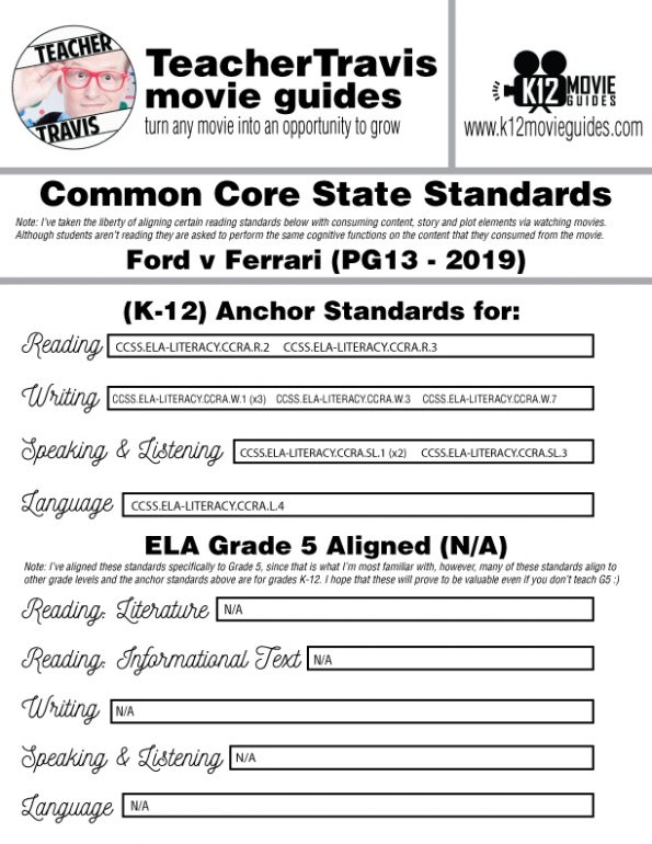 Ford v Ferrari Movie Guide | Questions | Worksheet (PG13 - 2019) CCSS Alignment