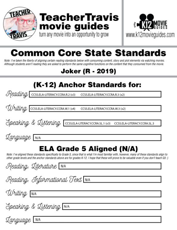 Joker Movie Guide | Questions | Worksheet (R - 2019) CCSS Alignment