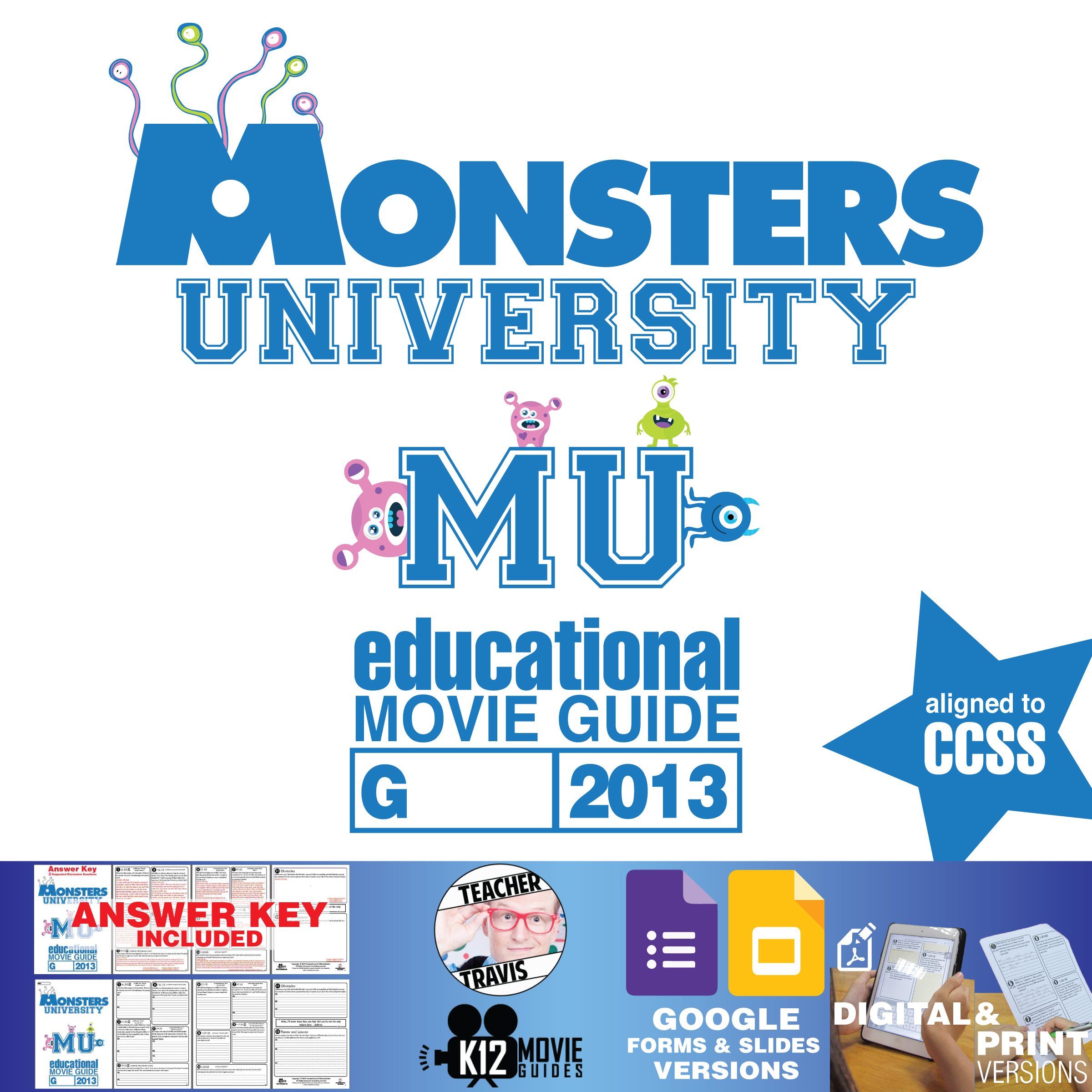 Monsters University Movie Guide | Questions | Worksheet (G - 2013) Cover