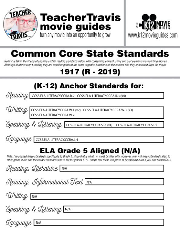 1917 Movie Guide | Questions | Worksheet (R - 2019) CCSS Alignment