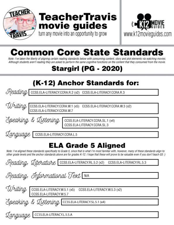 Stargirl Movie Guide | Questions | Worksheet (PG - 2020) CCSS Alignment