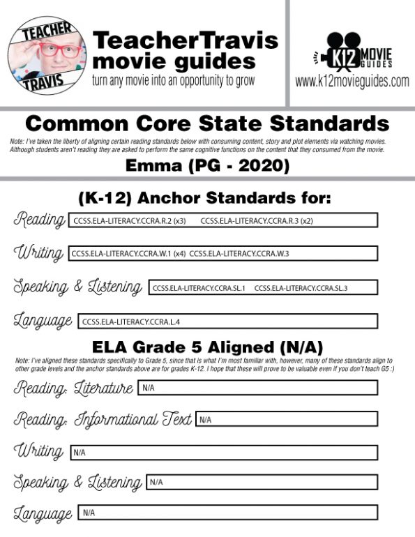 Emma Movie Movie Guide | Questions | Worksheet (PG - 2020) CCSS Alignment