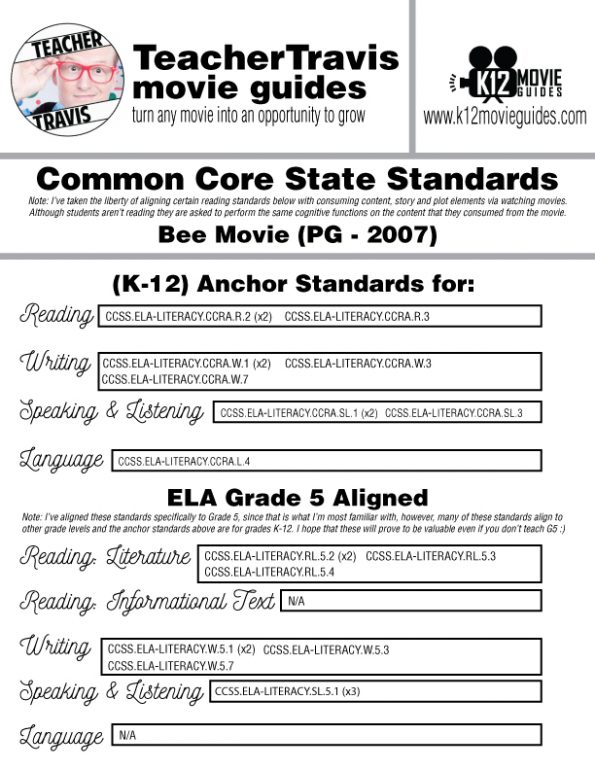 Bee Movie Movie Guide | Questions | Worksheet (PG - 2007) CCSS Alignment