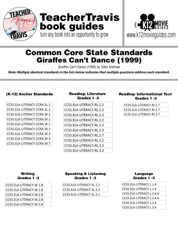 Giraffes Can't Dance Read Aloud Book Guide CCSS Alignment