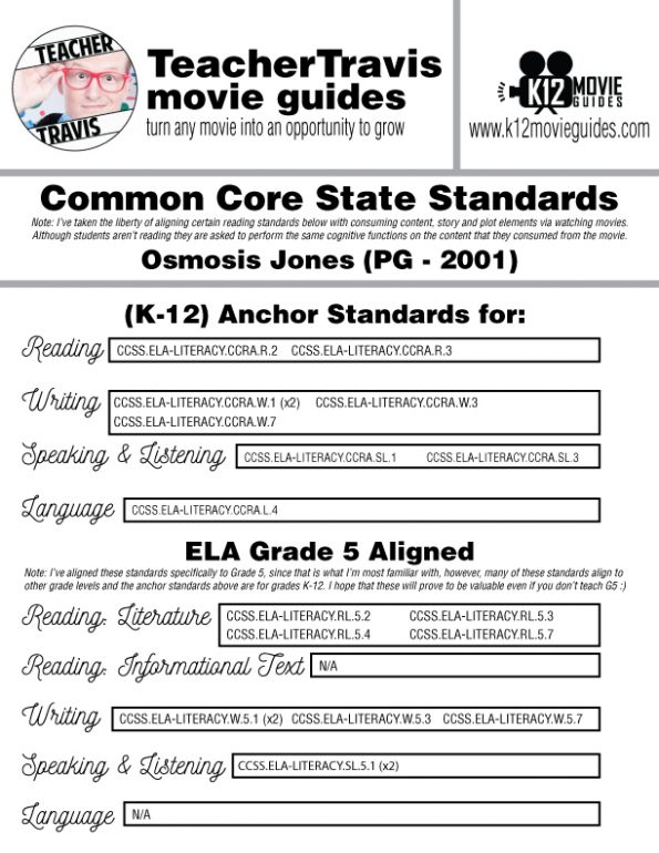 Osmosis Jones Movie Guide   Questions   Google Forms (PG - 2001) CCSS Alignment