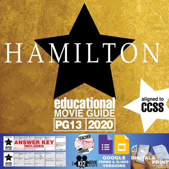 Hamilton Movie (Broadway Musical) Guide   Questions   Worksheet (PG13 - 2020) Cover