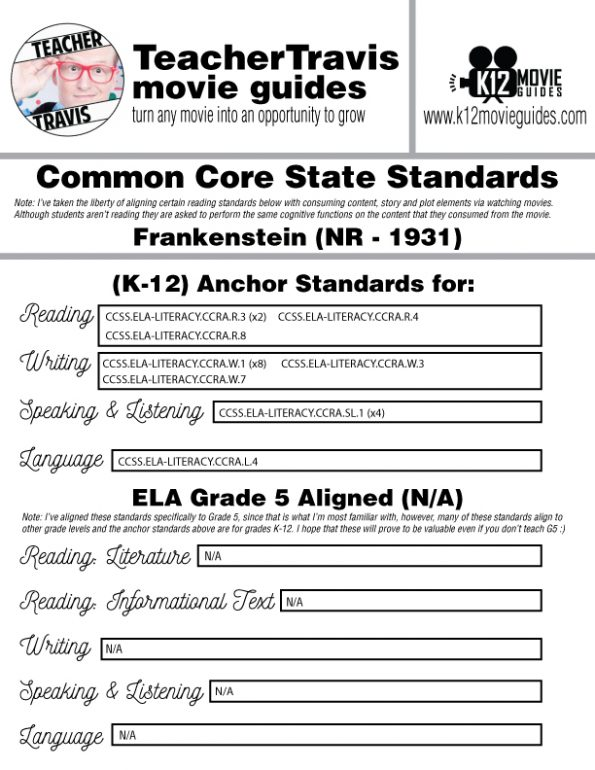 Free Halloween Activity Frankenstein (1931) Movie Guide | Questions | Worksheet CCSS