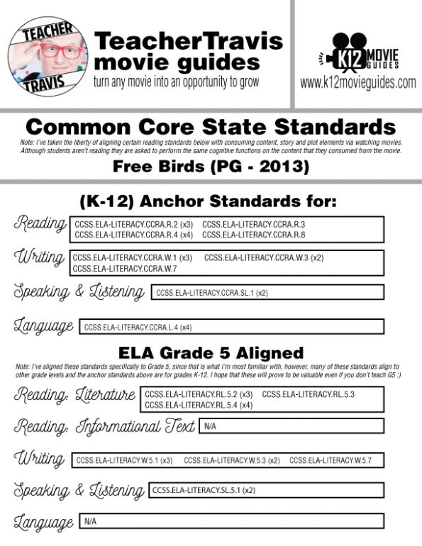 Free Birds Movie Guide | Questions | Worksheet | Google Forms (PG - 2013) CCSS