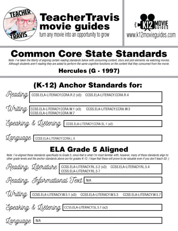 Hercules Movie Guide | Worksheet | Questions | Google Form (G - 1997) CCSS