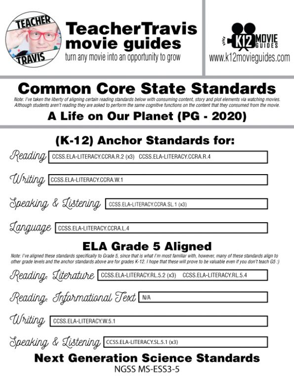 David Attenborough: A Life on Our Planet Movie Guide | Worksheet (PG - 2020) CCSS