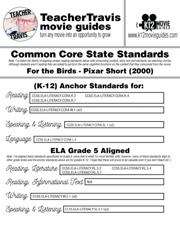 For the Birds (2000) - Pixar Short Video Guide | Questions | Worksheet | Google | CCSS