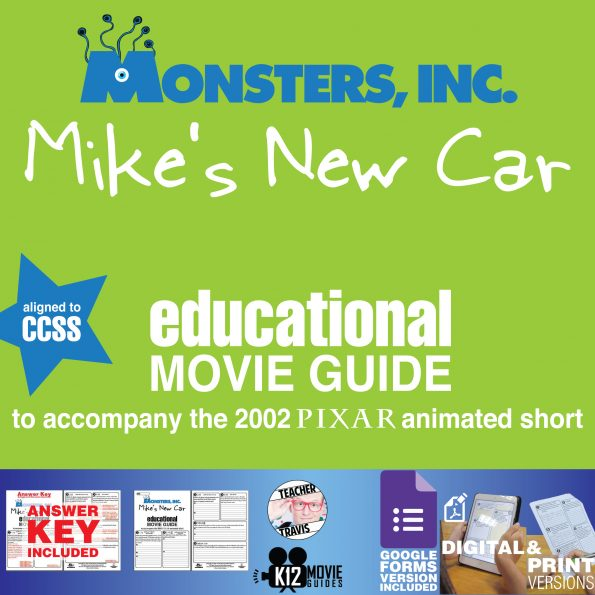 Monsters, Inc. Mike's New Car Pixar Short Video Guide | Questions | Worksheet | Google Form (2002) Cover