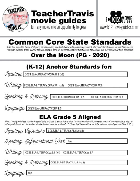 Over the Moon Movie Guide | Worksheet | Questions | Google Classroom (PG - 2020) CCSS