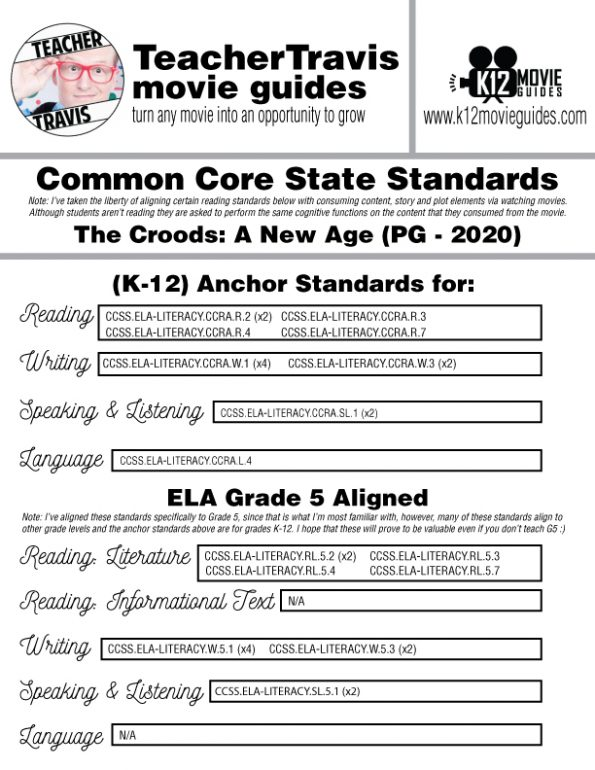 The Croods: A New Age Movie Guide | Worksheet | Questions | Google Classroom (PG - 2020) CCSS