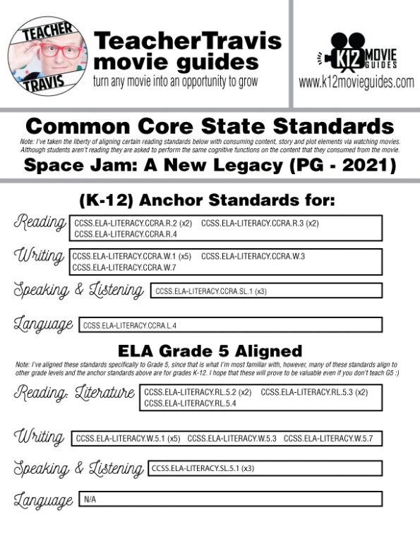 Space Jam: A New Legacy Movie Guide | Worksheet | Questions | Google (PG - 2021) CCSS