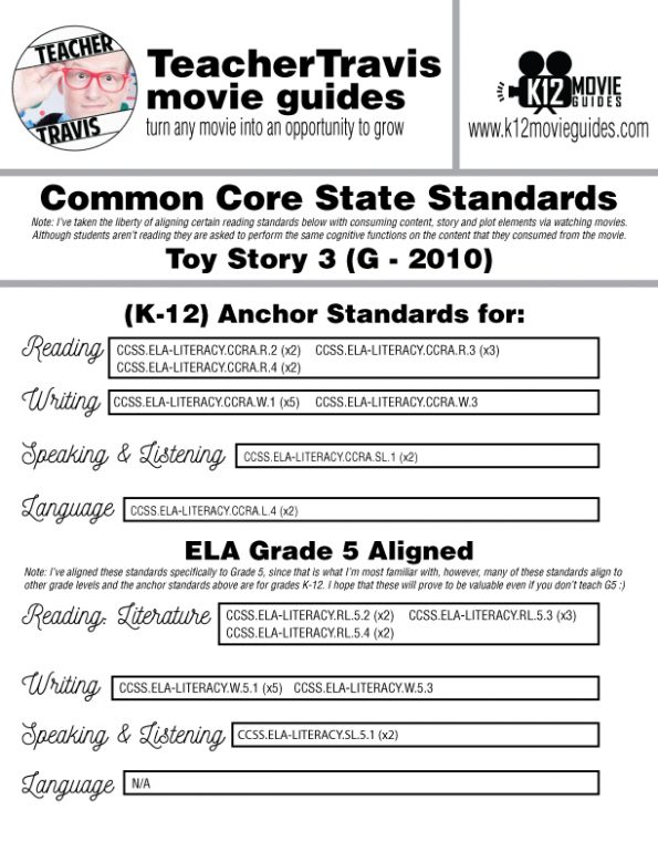 Toy Story 3 Movie Guide | Worksheet | Questions | Google Classroom (G - 2010) CCSS